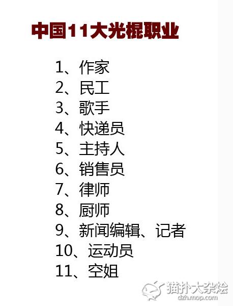 """""""中国11大光棍职业""""出炉 空姐入选 居然没有程序员?"""